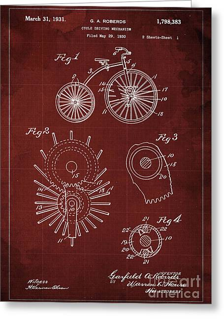 Cycle Driving Mechanism Patent Blueprint Year 1930, Red Background Greeting Card by Pablo Franchi