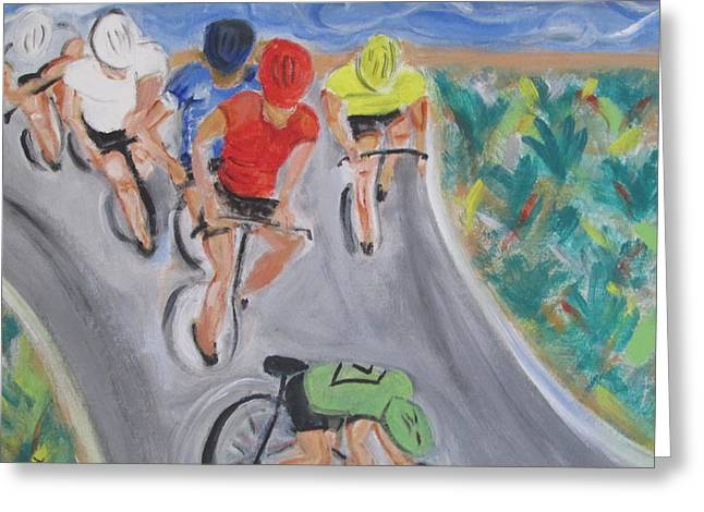 Cycling By The Ocean Greeting Card