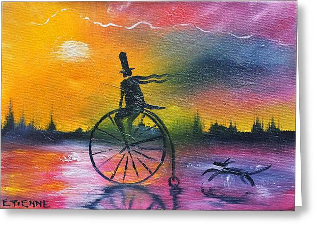 Cycling In The Embers Of The Day Greeting Card by Jason Etienne