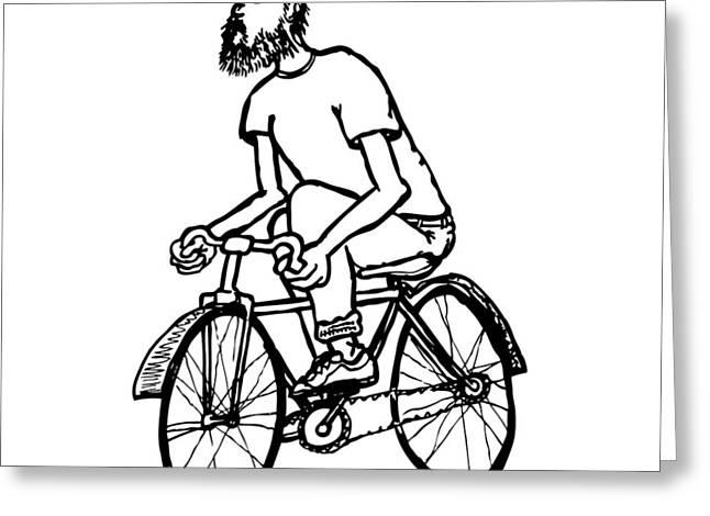 Cyclist - Bike Rider Greeting Card by Karl Addison