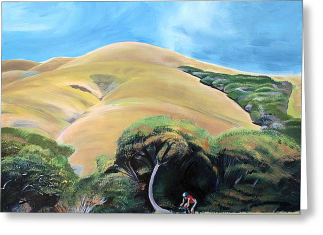 Cyclist By Elephant Mountain Greeting Card by Colleen Proppe