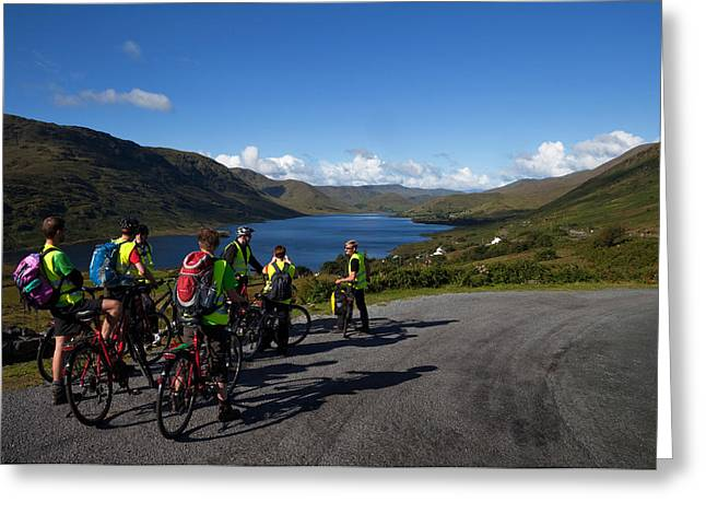 Cyclists Above Lough Nafooey, Shot Greeting Card by Panoramic Images