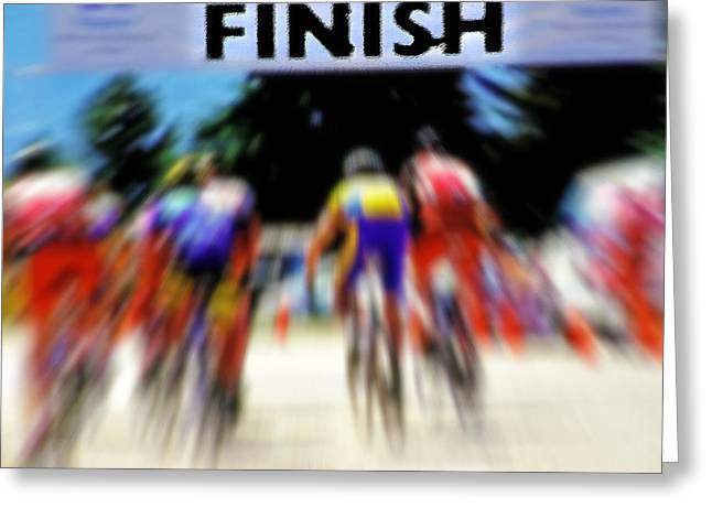 Cyclists Crossing The Finish Line Greeting Card by Steve Ohlsen