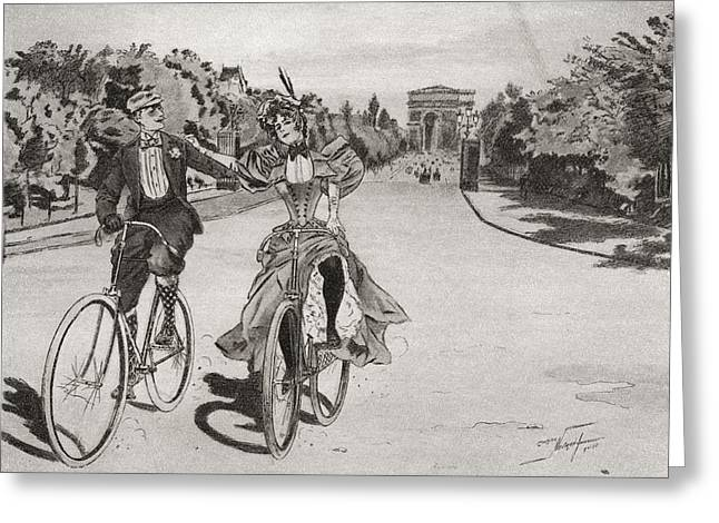Cyclists On The Way To The Bois Du Greeting Card by Vintage Design Pics