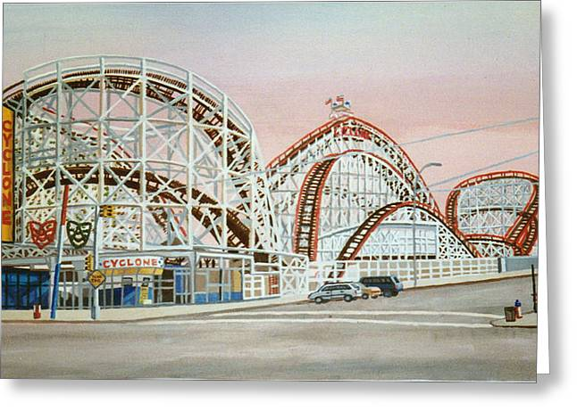 Cyclone Rollercoaster In Coney Island New York Greeting Card