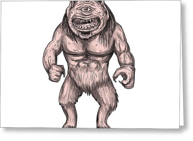 Cyclops Standing Tattoo Greeting Card