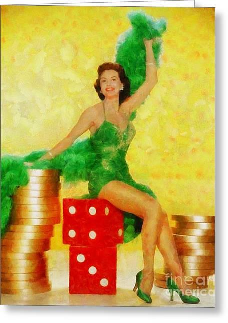 Cyd Charisse, Vintage Hollywood Legend Greeting Card by Sarah Kirk