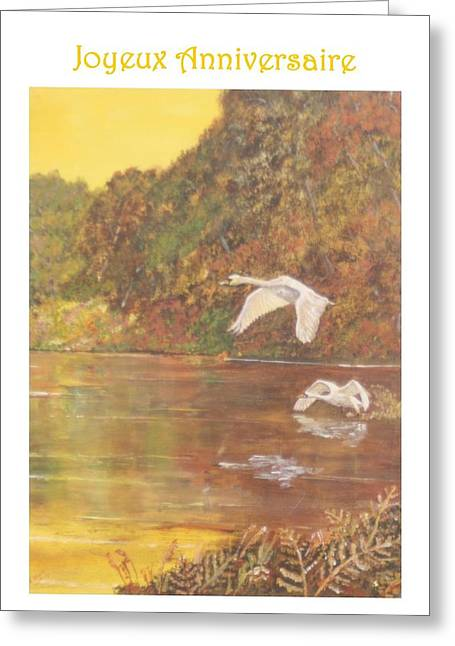Cygnes D'automne Droite Greeting Card by David Capon