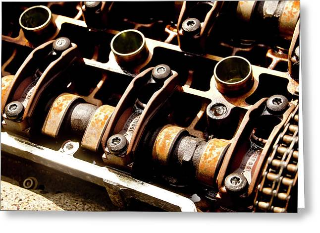 Cylinders And Camshafts. Greeting Card