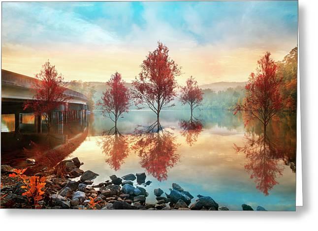 Cypress Autumn Greeting Card by Debra and Dave Vanderlaan