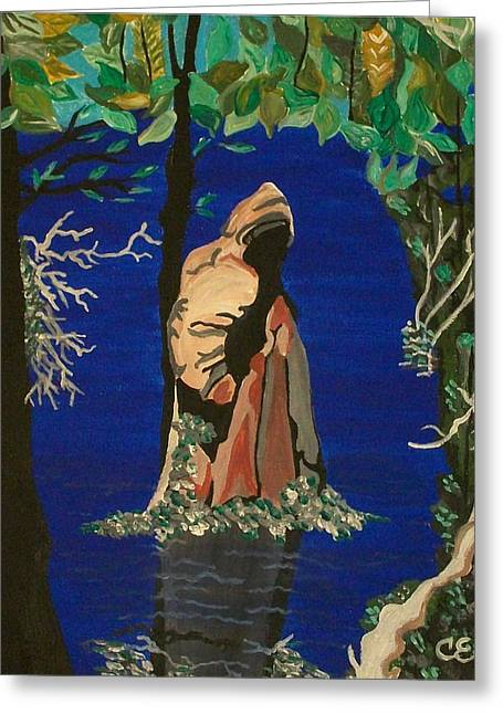Greeting Card featuring the painting Cypress Knee by Carolyn Cable