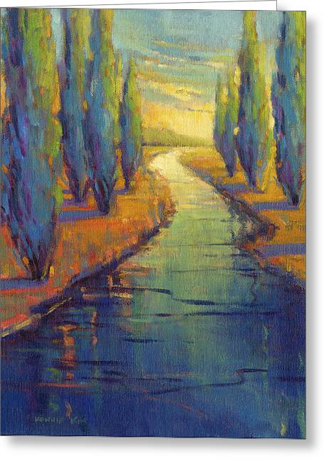 Greeting Card featuring the painting Cypress Reflection by Konnie Kim