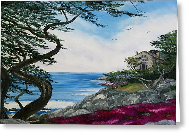 Monterey Greeting Cards - Cypress Tree at Carmel Greeting Card by Laura Iverson