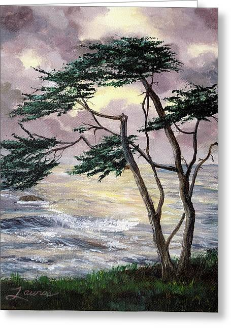 Recently Sold -  - Cambria Greeting Cards - Cypress Tree Just Before the Rain Greeting Card by Laura Iverson