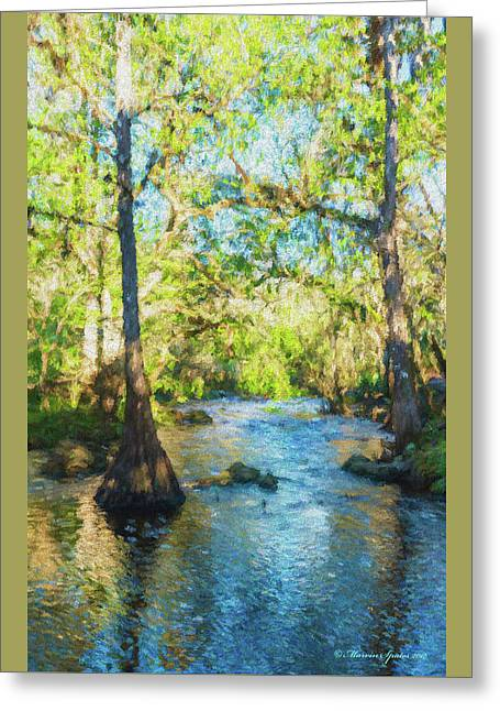 Cypress Trees On The River Greeting Card by Marvin Spates
