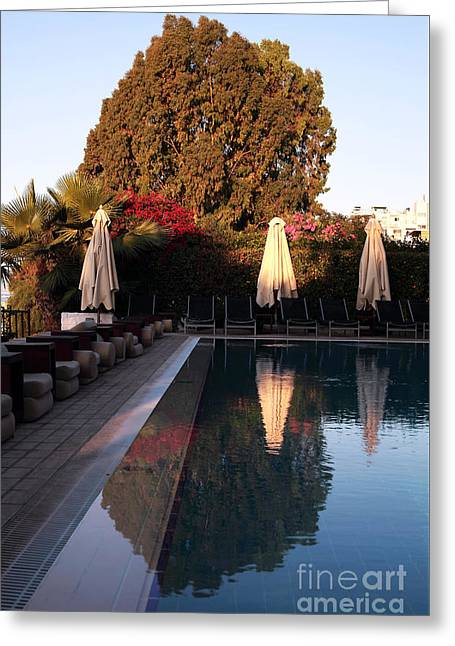 Cyprus Pool Reflection Greeting Card by John Rizzuto