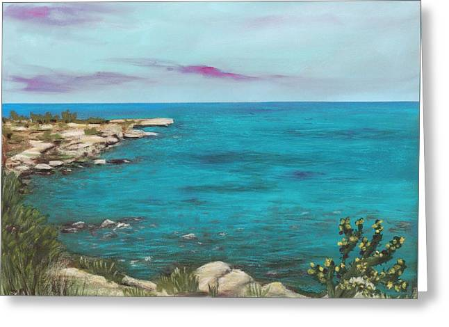 Greeting Card featuring the painting Cyprus - Protaras by Anastasiya Malakhova