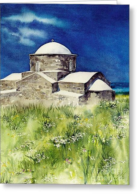 Cyprus The Old Church Greeting Card by Sandra Phryce-Jones