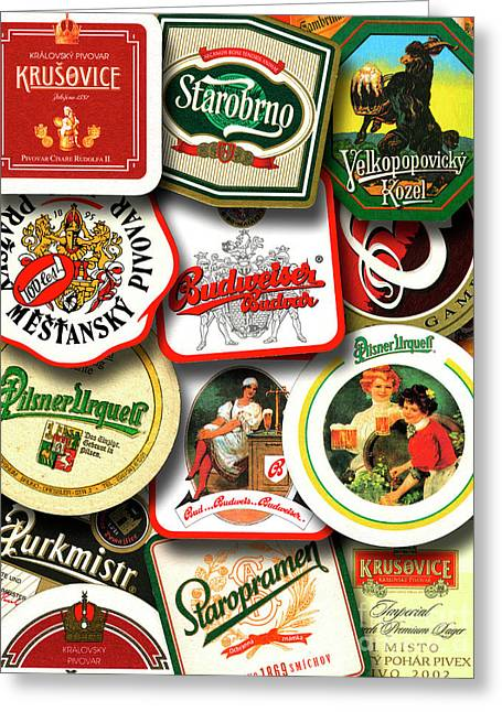 Czech Beer Mats 1 Greeting Card by Phil Robinson