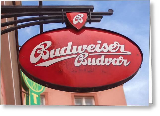 Czech Budvar Greeting Card by Shirley Radabaugh