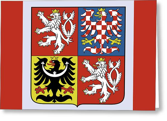 Greeting Card featuring the drawing Czech Republic Coat Of Arms by Movie Poster Prints