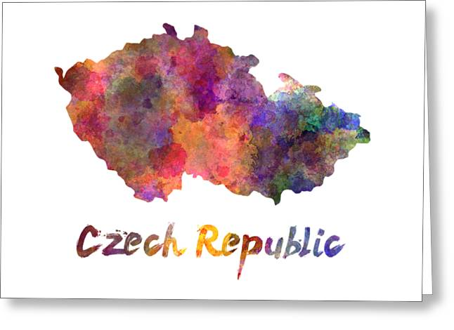 Czech Republic In Watercolor Greeting Card by Pablo Romero