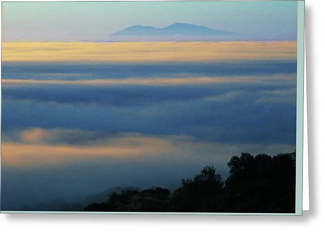 Greeting Card featuring the photograph D8b6320 Mt. Diablo And Fog From Sonoma Mountain Ca by Ed Cooper Photography