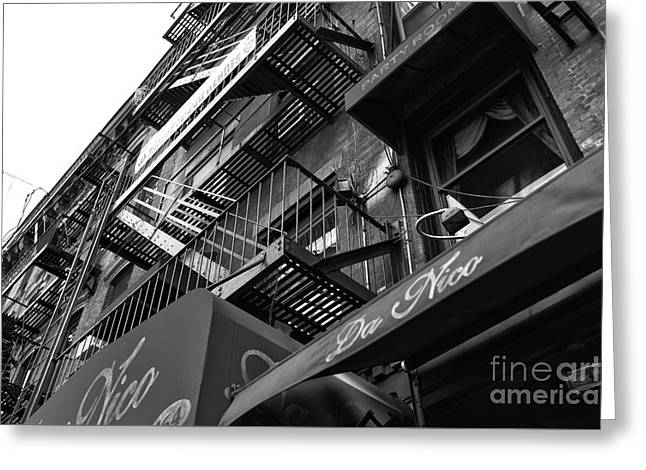 Da Nico Little Italy Mono Greeting Card by John Rizzuto