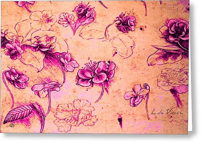 Da Vinci Flower Study Pink And Orange By Da Vinci Greeting Card