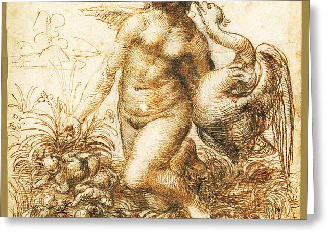 Da Vinci Leda And The Swan Remastered By Da Vinci Greeting Card by Tony Rubino