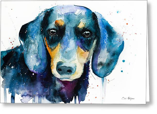 Dachshund  2 Greeting Card by Slavi Aladjova