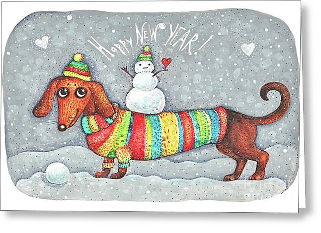Dachshund In A Suit With A Snowman - New Year Greeting Card