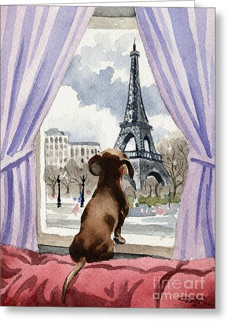Dachshund In Paris Greeting Card