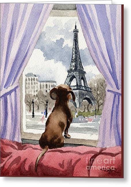 Dachshund In Paris Greeting Card by David Rogers