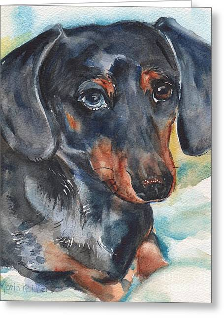 Dachshund Portrait In Watercolor Greeting Card by Maria's Watercolor