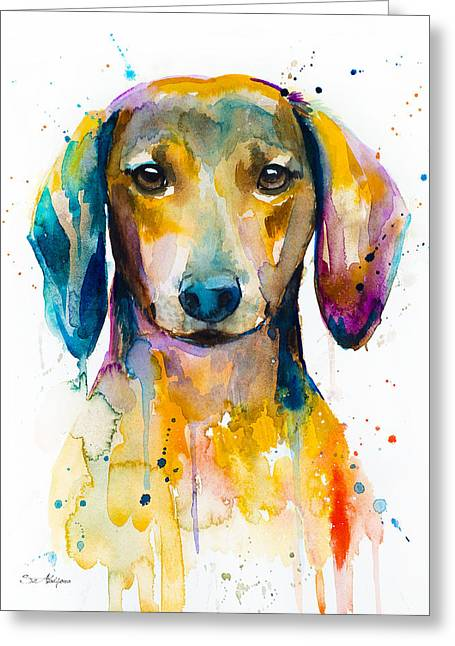 Dachshund  Greeting Card by Slavi Aladjova