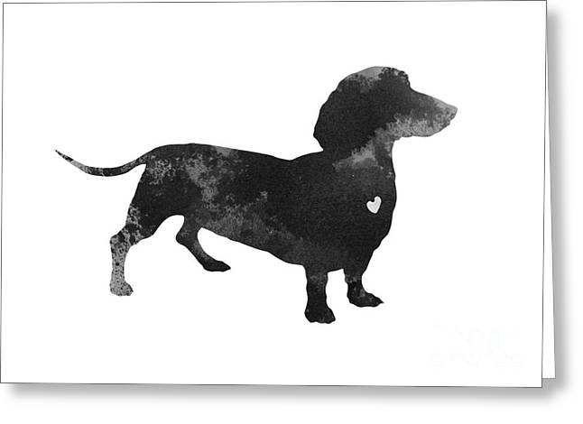 Dachshund Watercolor Black Silhouette Greeting Card by Joanna Szmerdt