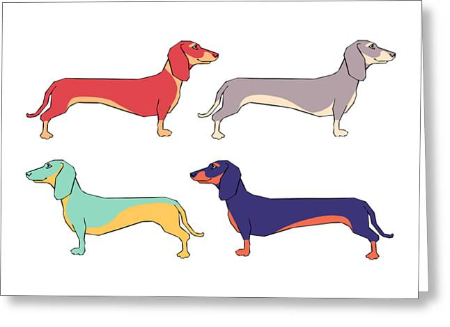 Dachshunds Greeting Card by Kelly Jade King