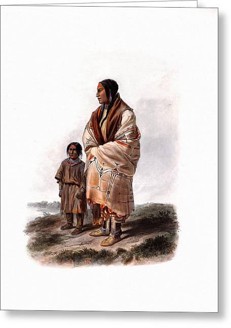 Dacota Woman And Assiniboin Girl Wall Art Prints Greeting Card
