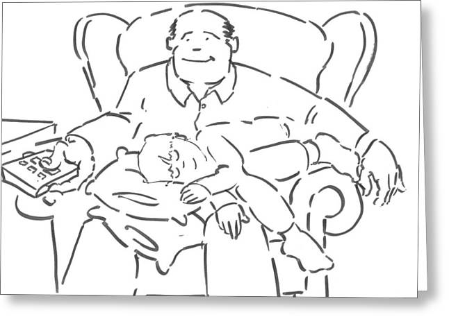 Dad And Lad - Father And Son Watching Tv Cartoon Greeting Card by Mike Jory