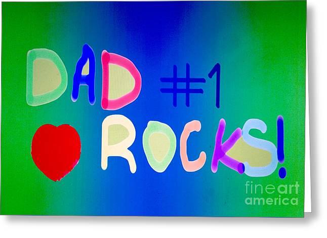 Dad Rocks Greeting Card by Raul Diaz