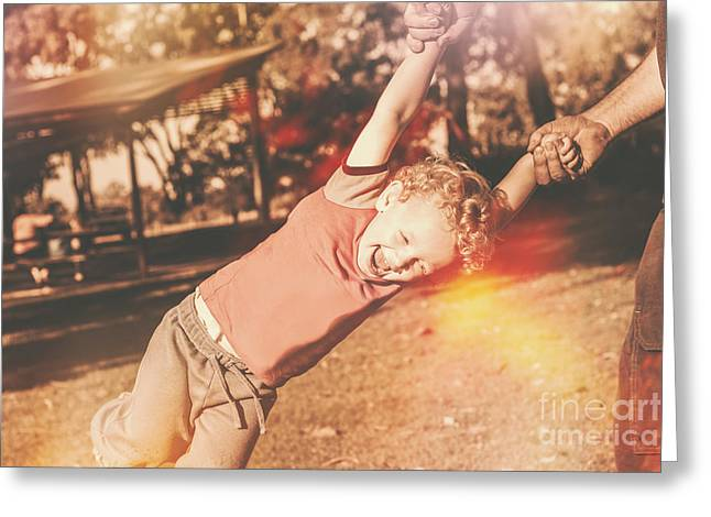 Dad Spinning Laughing Boy Propeller Style Greeting Card by Jorgo Photography - Wall Art Gallery