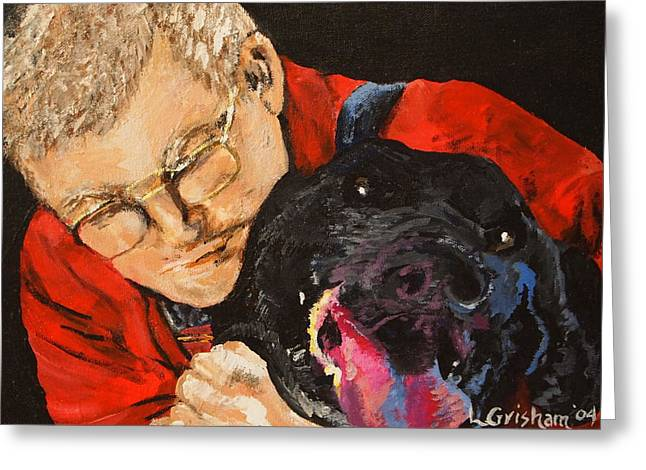 Greeting Card featuring the painting Daddy And Borus by Laura  Grisham