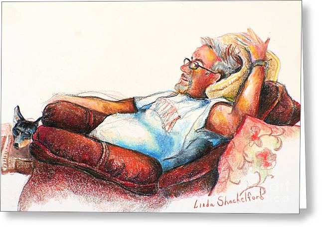 Greeting Card featuring the drawing Daddy And Molly by Linda Shackelford