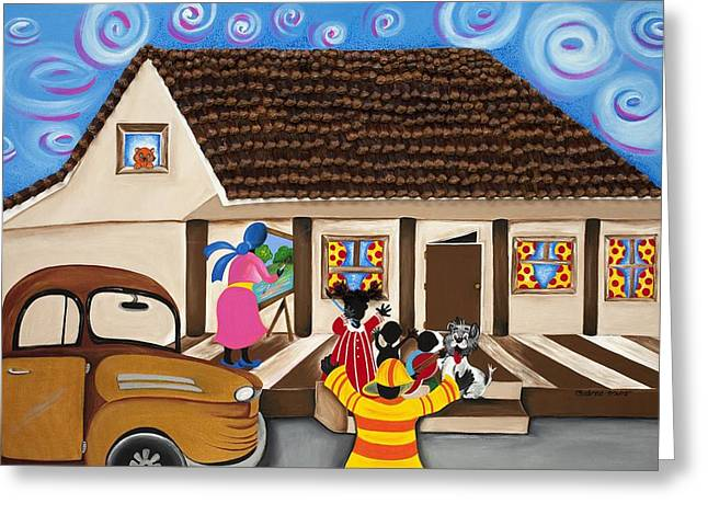 Daddy's Home Greeting Card by Patricia Sabree