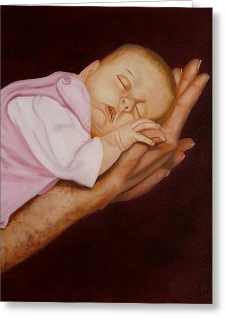 Greeting Card featuring the painting Daddy's Little Girl by Joni McPherson