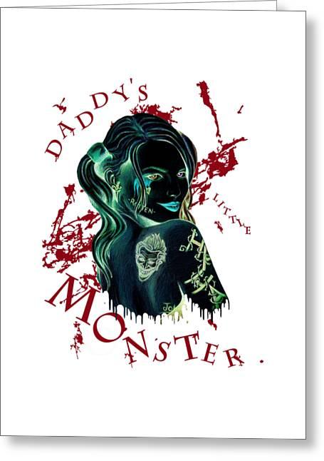 Daddy's Little Monster Invert Greeting Card by John Prehart