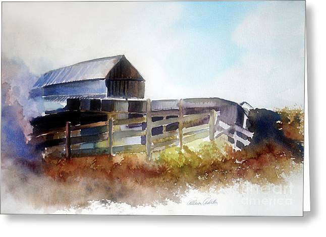 Greeting Card featuring the painting Dad's Farm House by Allison Ashton
