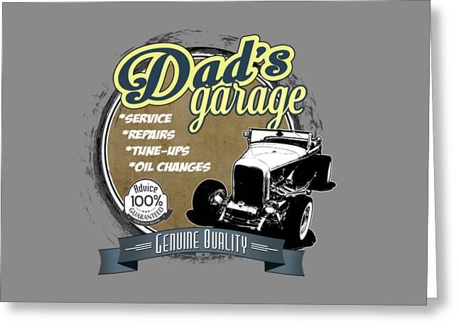 Dad's Garage-32 Ford Greeting Card by Paul Kuras