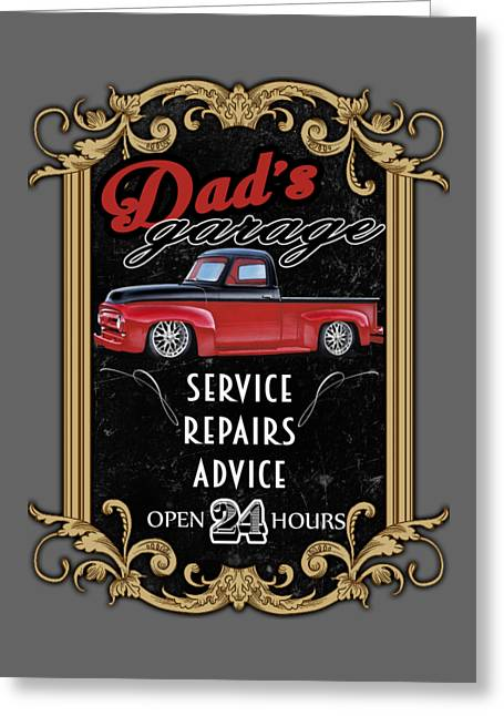 Dad's Garage With F100 Greeting Card